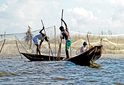 Pêcheurs de la cité lacustre de Ganvié au Bénin