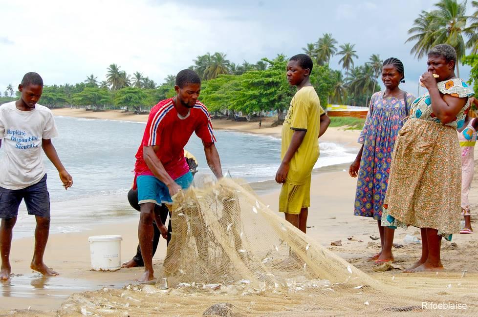 Pêcheurs au travail sur la plage de Kribi au Cameroun
