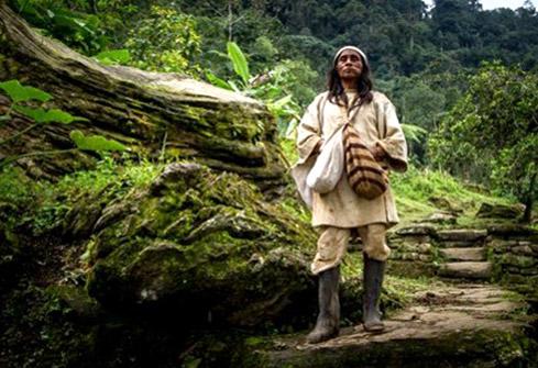 Homme de la communauté indiègne Wiwa Gotsezhy dans la forêt de la Sierra Nevada de Santa Marta en Colombie