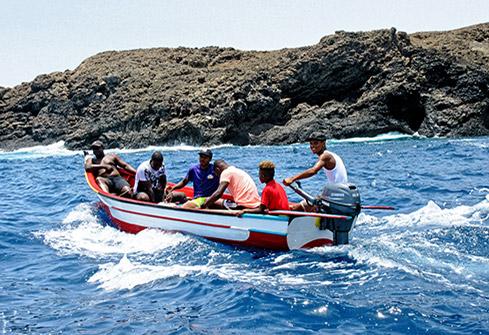 Pêcheurs Badius sur l'île de Santiago au Cap-Vert