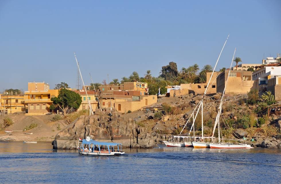 Assouan vu du Nil au sud de l'Egypte