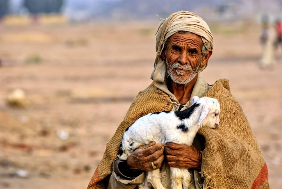 Bédouin dans le désert nubien portant un agneau