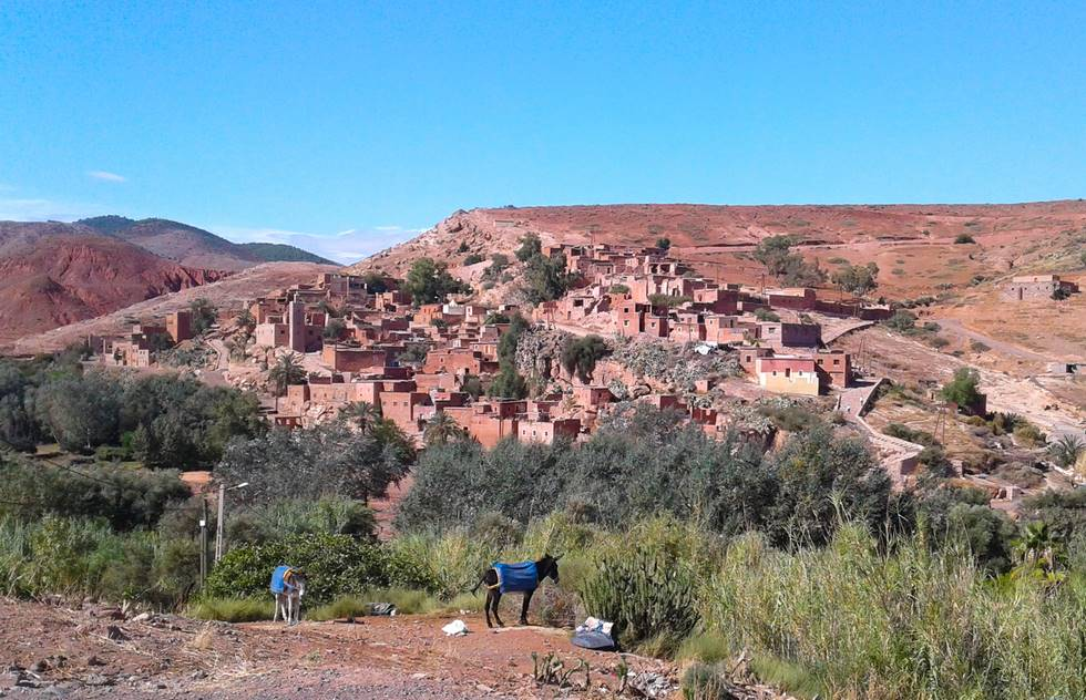 Village berbère de la vallée de l'Ourika dans le haut-Atlas au Maroc