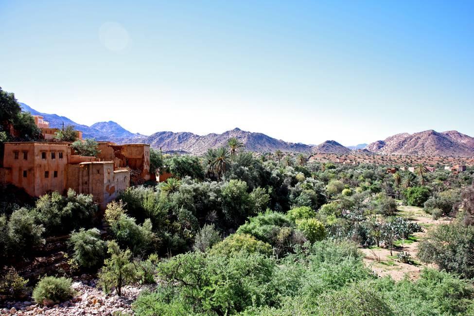 Village de la vallée d'Ammelne à Tafraoute au Maroc
