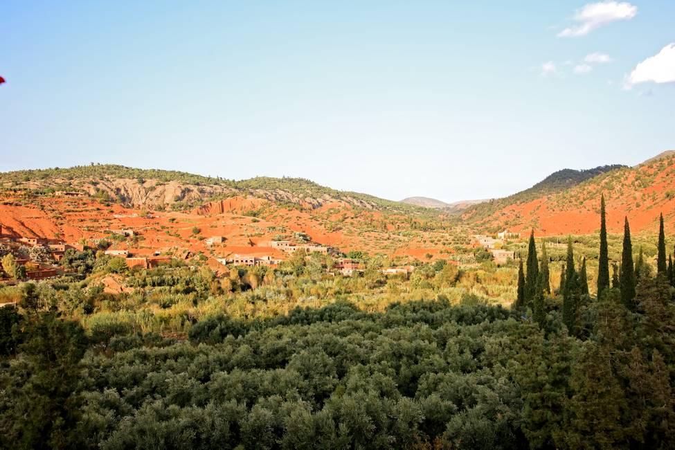 Paysage de ka vallée de l'Ourika dans le haut-Atlas au Maroc