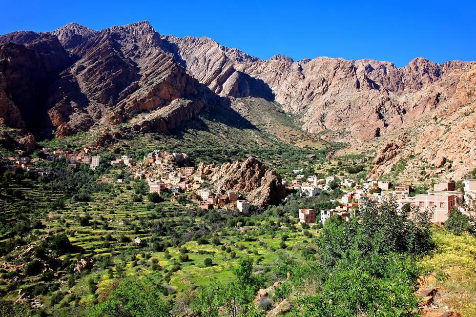 Vue du village de Tagdich près de Tafraoute au Maroct