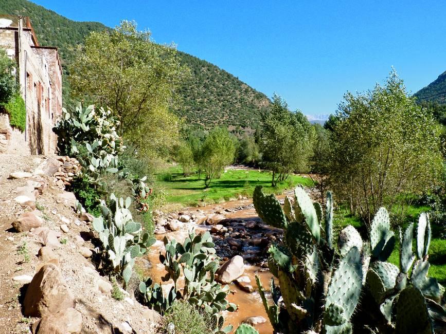 Paysage de la vallée de l'Ourika dans le haut-Atlas au Maroc