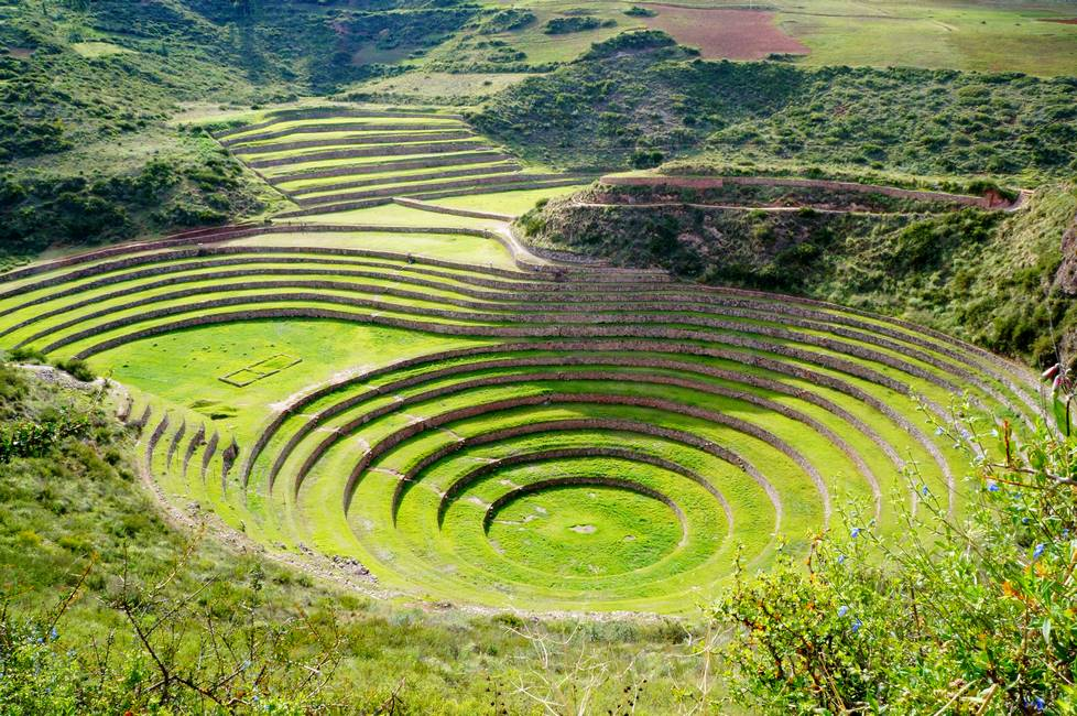 Site archéologique inca de Moray dans les Andes au Pérou