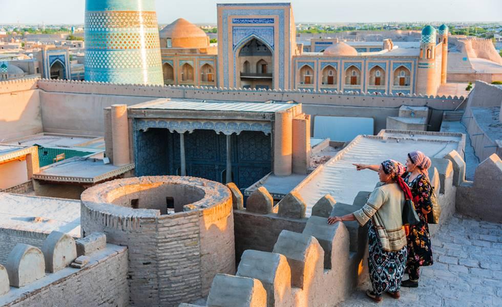 Intérieur de l'Itchan-Kala à Khiva en Ouzbékistan (ville intérieure)