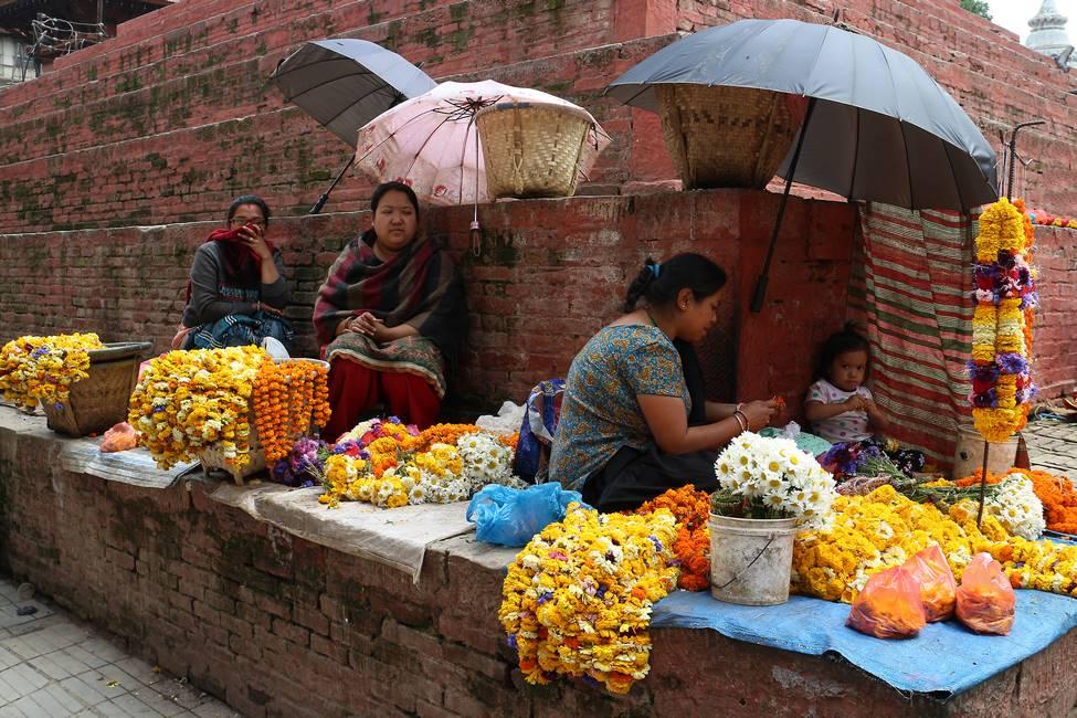 Scène de vie à Dubar Square quartier de Katmandou au Népal