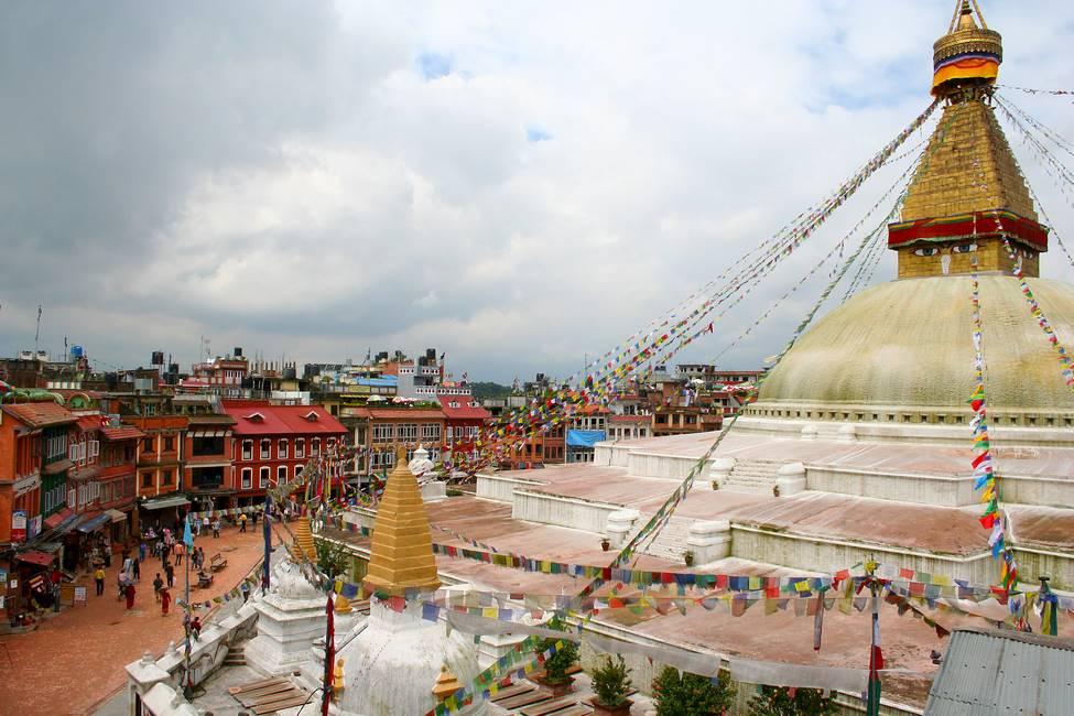 Panorama du stoupa de Bodnath à Katmandou, Népal
