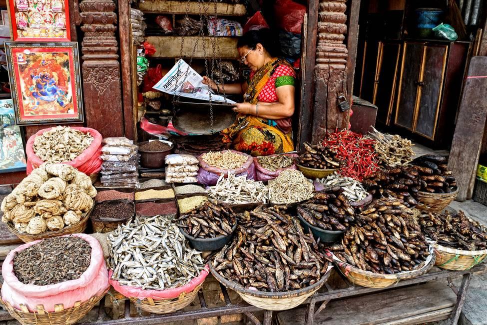 Scène de vie à Katmandou au Népal