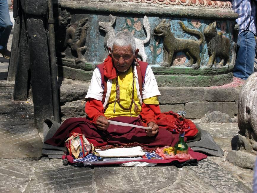 Moine bouddhiste à Katmandou, Népal