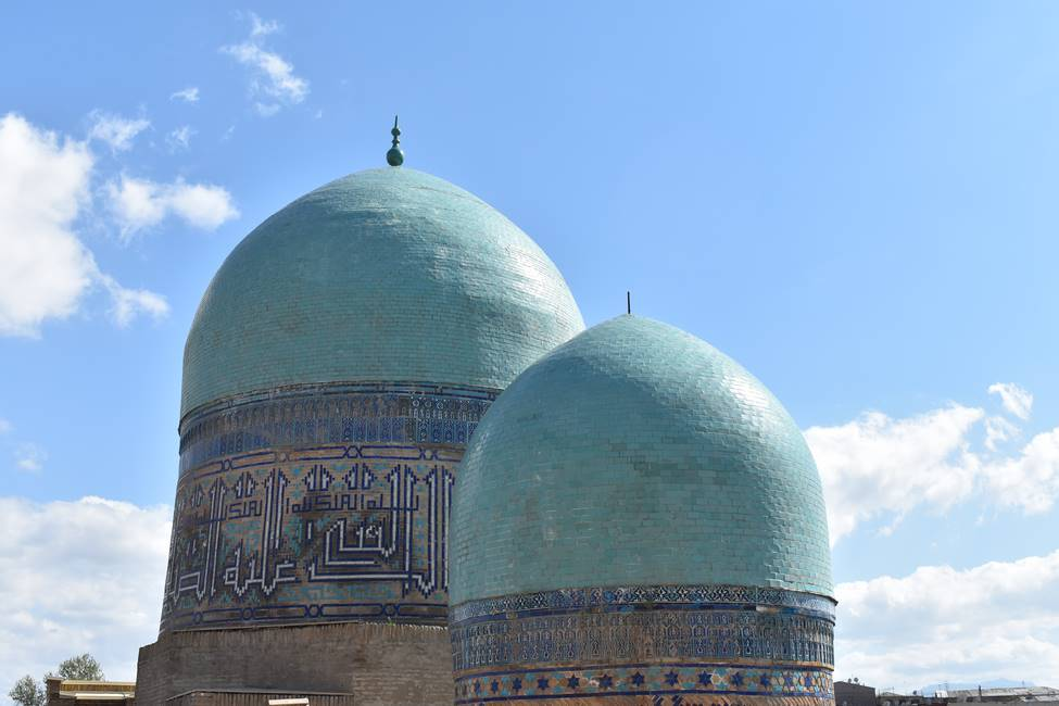 Coupole des mausolées de Shahizinda à Samarcande en Ouzbékistan