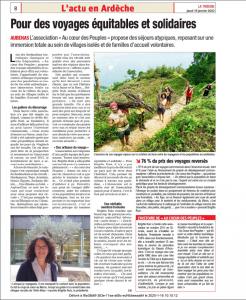 Article journal La Tribune du 16 janvier 2020